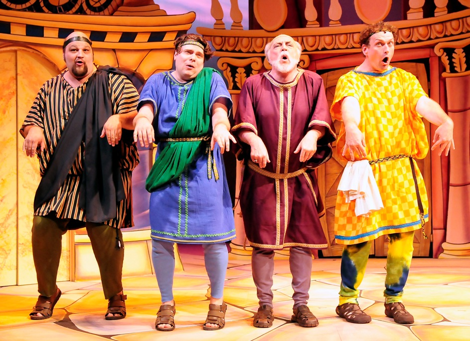 From left, Jeffrey Lloyd Heatherly as Marcus Lycus, Scottie Woodard as Hysterium, Joe Vincent as Senex, and Michael RJ Campbell as Pseudolus