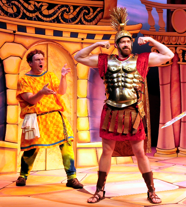 From left, Michael RJ Campbell as Pseudolus and Jacob L. Smith as Miles Gloriosus