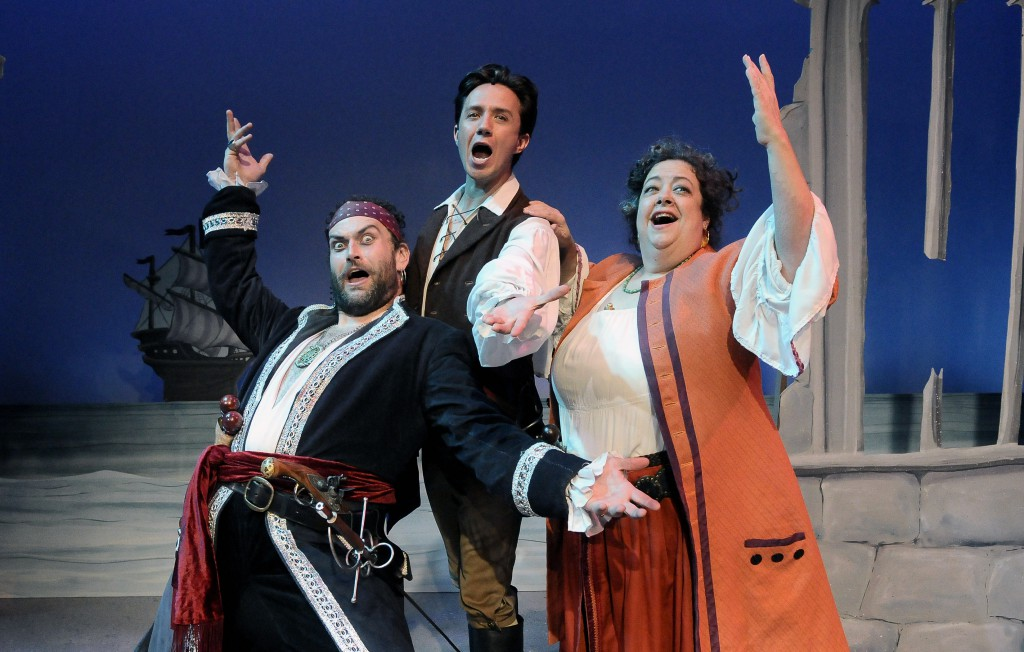 Michael RJ Campbell as The Pirate King, Zak Edwards as Frederic, & Martha Omiyo Kight as Ruth