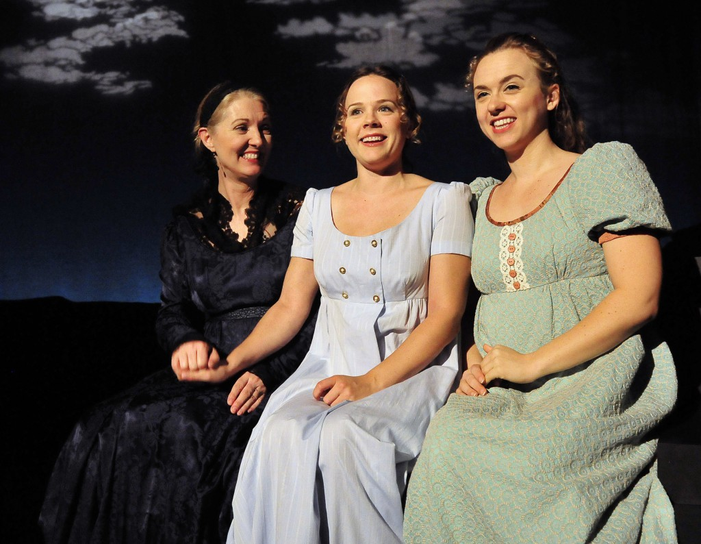 Ruby Sketchly as Mrs. Dashwood, Lenne Klingaman as Elinor, Lindsey Marie Schmeltzer as Marianne